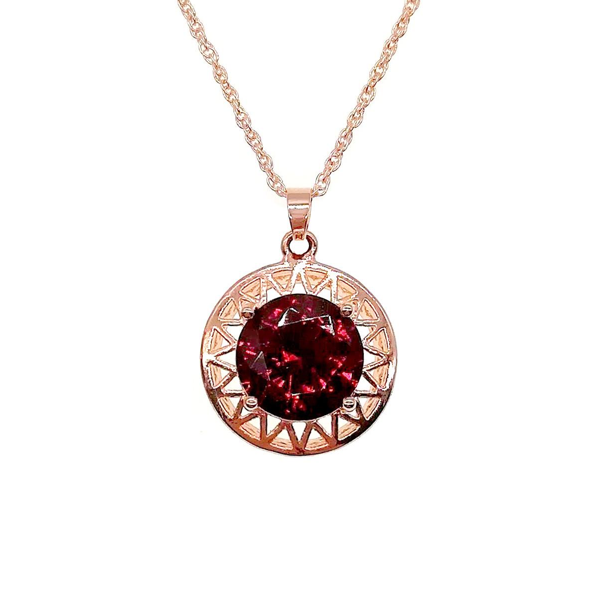 Подвеска на цепочке SONATA из медицинского золота, темно-красный фианит, позолота PO, 42170