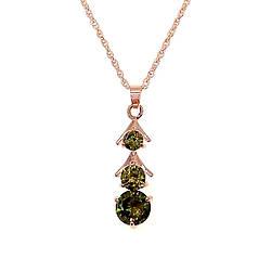 Подвеска на цепочке SONATA из медицинского золота, зеленый фианит, позолота PO, 42164             (1)