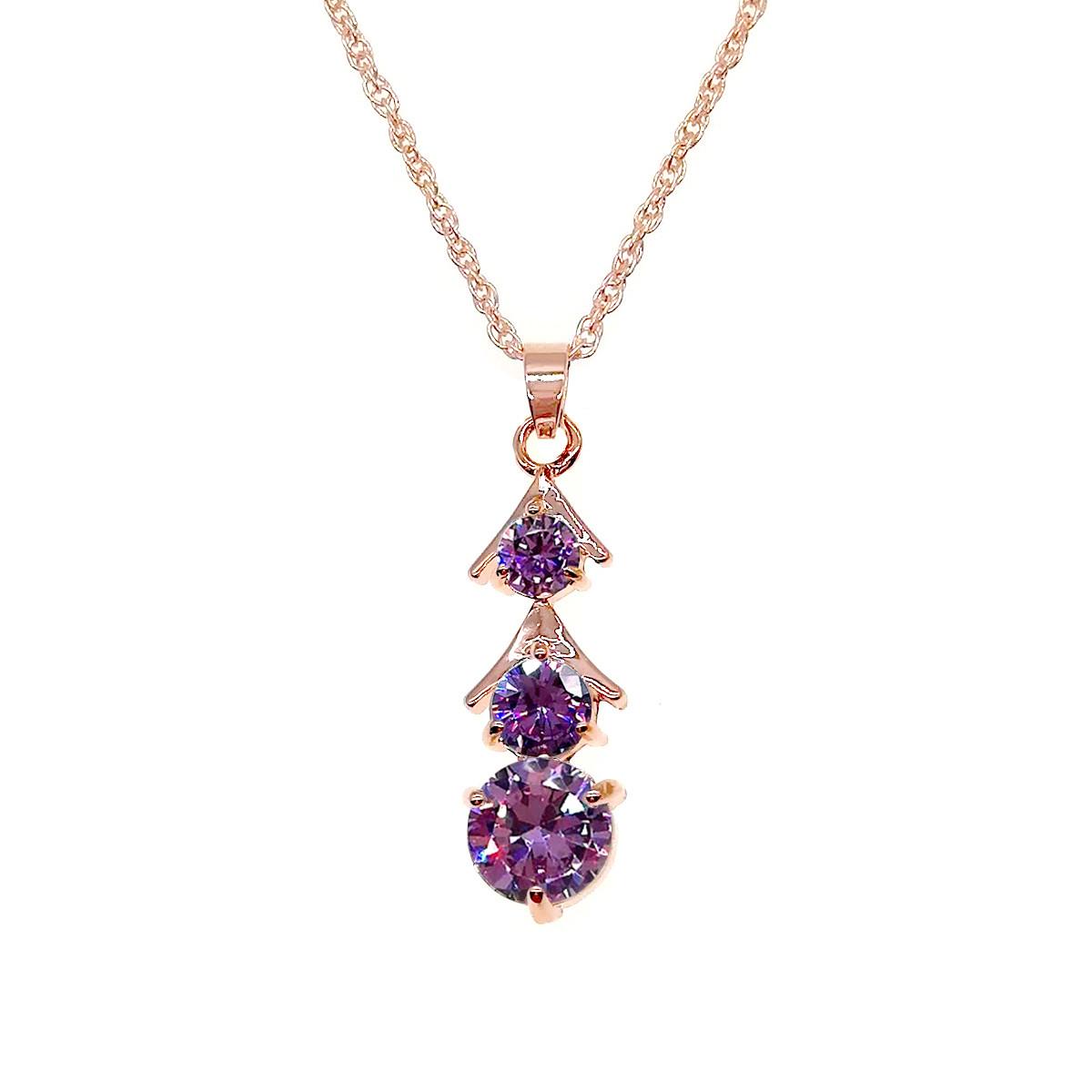 Подвеска на цепочке SONATA из медицинского золота, фиолетовый фианит, позолота PO, 42165             (1)