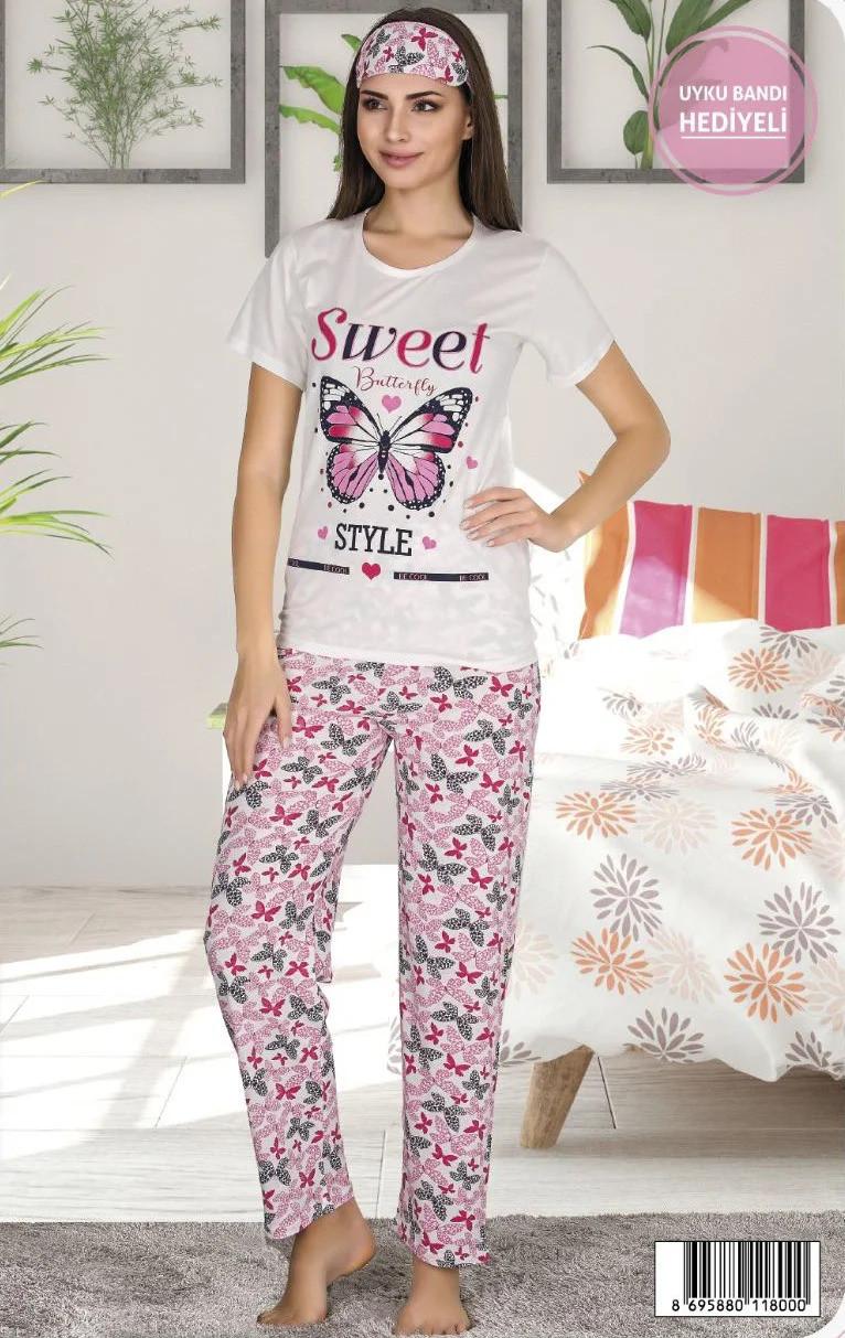 Женская летняя коттоновая пижама с повязкой на глаза Miss Carella /бело-розовая, M-XXL, ТП-80118/