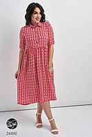 Свободное платье миди красного цвета. Модель 24490. Размеры 48-54