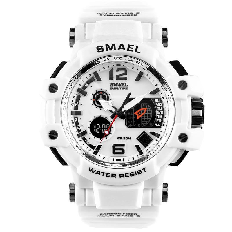 Smael 1509 белые мужские спортивные  часы