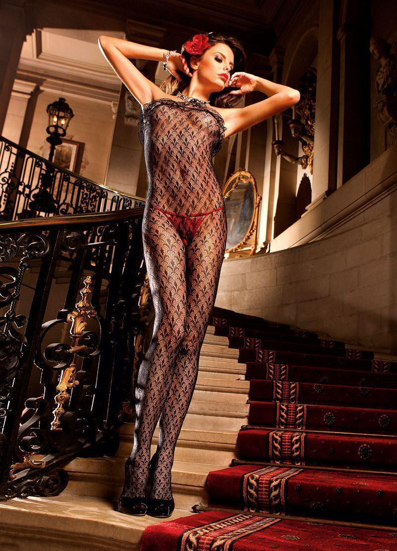 Эротический комбинезон Ruffle Lace Bodystocking от BACI Lingerie