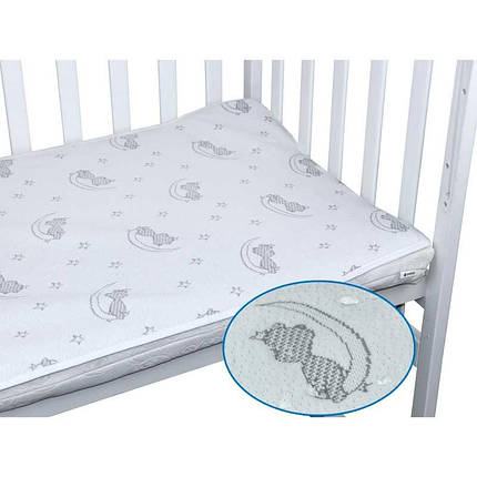 Непромокаемый наматрасник 60х120 в детскую кроватку жаккардовый, фото 2