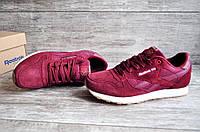 Бордовые мужские замшевые кроссовки в стиле Reebok Classic (размеры в наличии: 44,45), фото 1