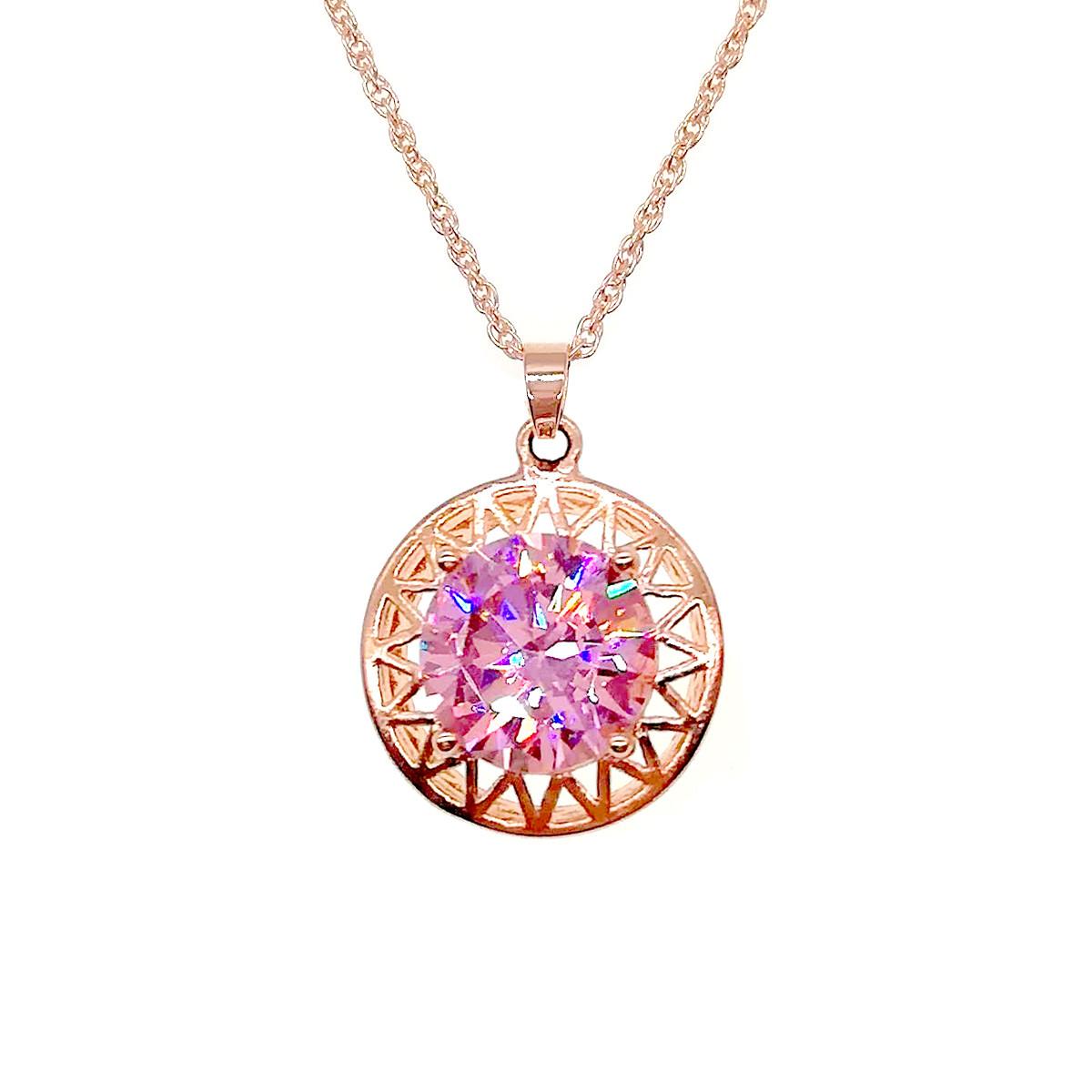 Подвеска на цепочке SONATA из медицинского золота, нежно-розовый фианит, позолота PO, 42174             (1)