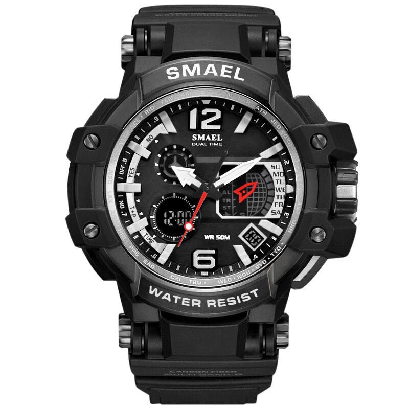 Smael 1509 черные с серебристым кантом мужские спортивные  часы