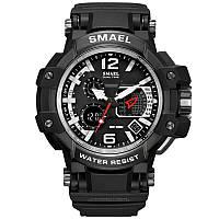 Smael 1509 черные с серебристым кантом мужские спортивные  часы, фото 1