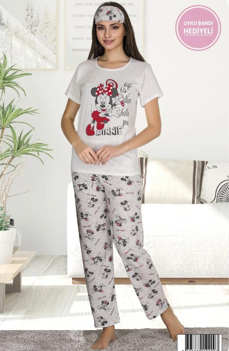 Женская летняя коттоновая пижама с повязкой на глаза Woman Homewear /белая, M-XXL, ТП-80122/