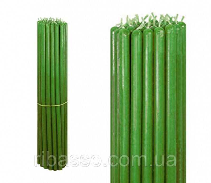9060254 Свечи восковые пучек 1 кг. Зелёные №10
