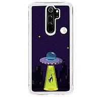 Чехол-накладка (Жидкий Блеск) ForFun Neon Sand светящийся в темноте для Xiaomi Redmi Note 8 Pro (Желтый НЛО)