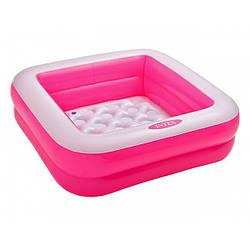Детский квадратный надувной бассейн Intex из двух надувных блоков на 60 литров, размер 85x85x23 см, розовый