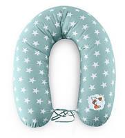 Подушка для кормления и поддержки ребенка 200х35 мята звезды+завязки Standart Ideia