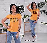"""Женская стильная футболка в стиле """"VLTN"""" горчица или лиловый цвет, фото 5"""