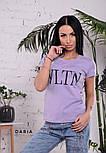 """Женская стильная футболка в стиле """"VLTN"""" горчица или лиловый цвет, фото 2"""