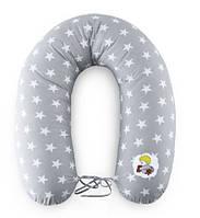 Подушка для кормления и поддержки ребенка 200х35 серый звезды+завязки Standart Ideia