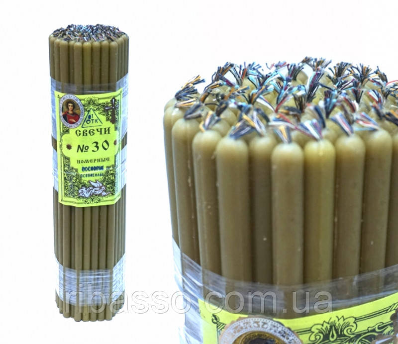 9060003 Свечи восковые церковные пучек 1 кг. Натуральный цвет №30