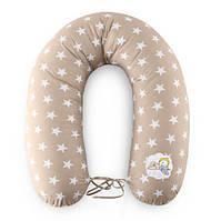 Подушка для кормления и поддержки ребенка 200х35 серый-беж звезды+завязки Standart Ideia