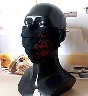 Многоразовая черная защитная хлопковая маска с вышивкой