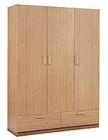 Деревянный 3-х дверный шкаф  бук + 2 ящика