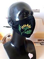 Многоразовая черная защитная хлопковая маска с вышивкой, 4 размера