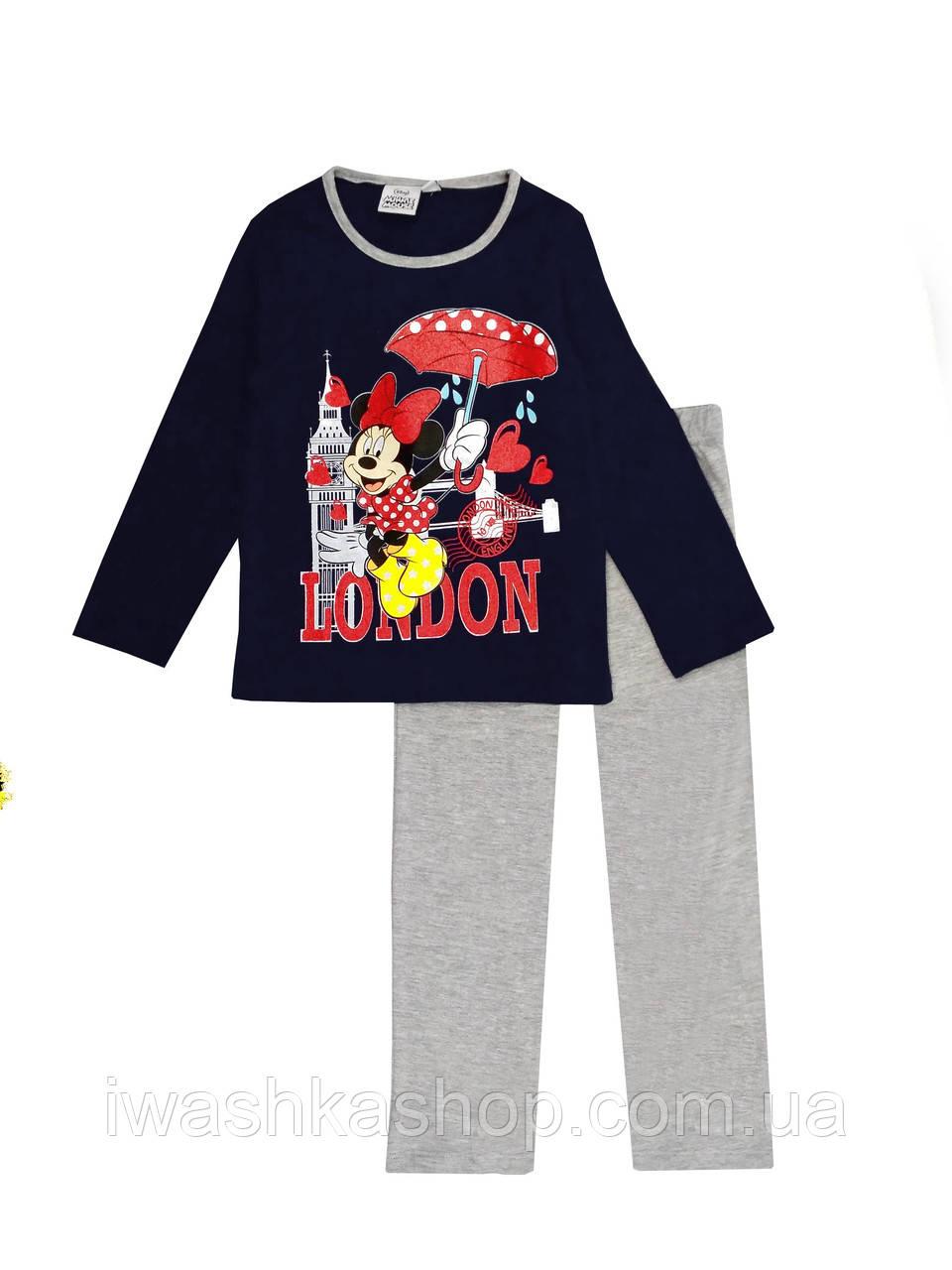 Хлопковая пижама со штанами и длинными рукавами Минни Маус на девочек 4 лет, р. 104, Disney