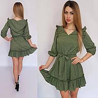 Платье короткое с рюшами в горох зеленое, 192