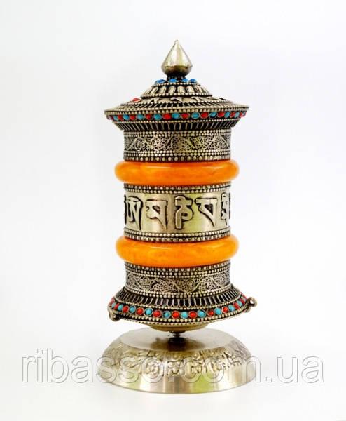 9070321 Молитвенный барабан настольный в серебряном цвете