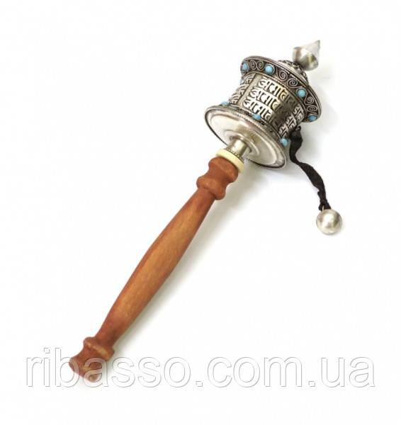 9070314 Молитвенный барабан на ручке в серебряном цвете