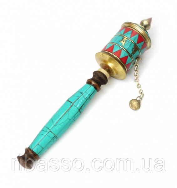 9070313 Молитвенный барабан на ручке инкрустированный камнями