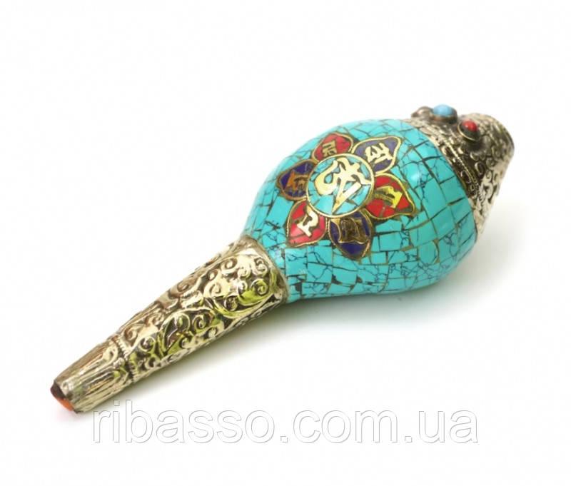 9070324 Шанкха раковина - горн инкрустированная камнями