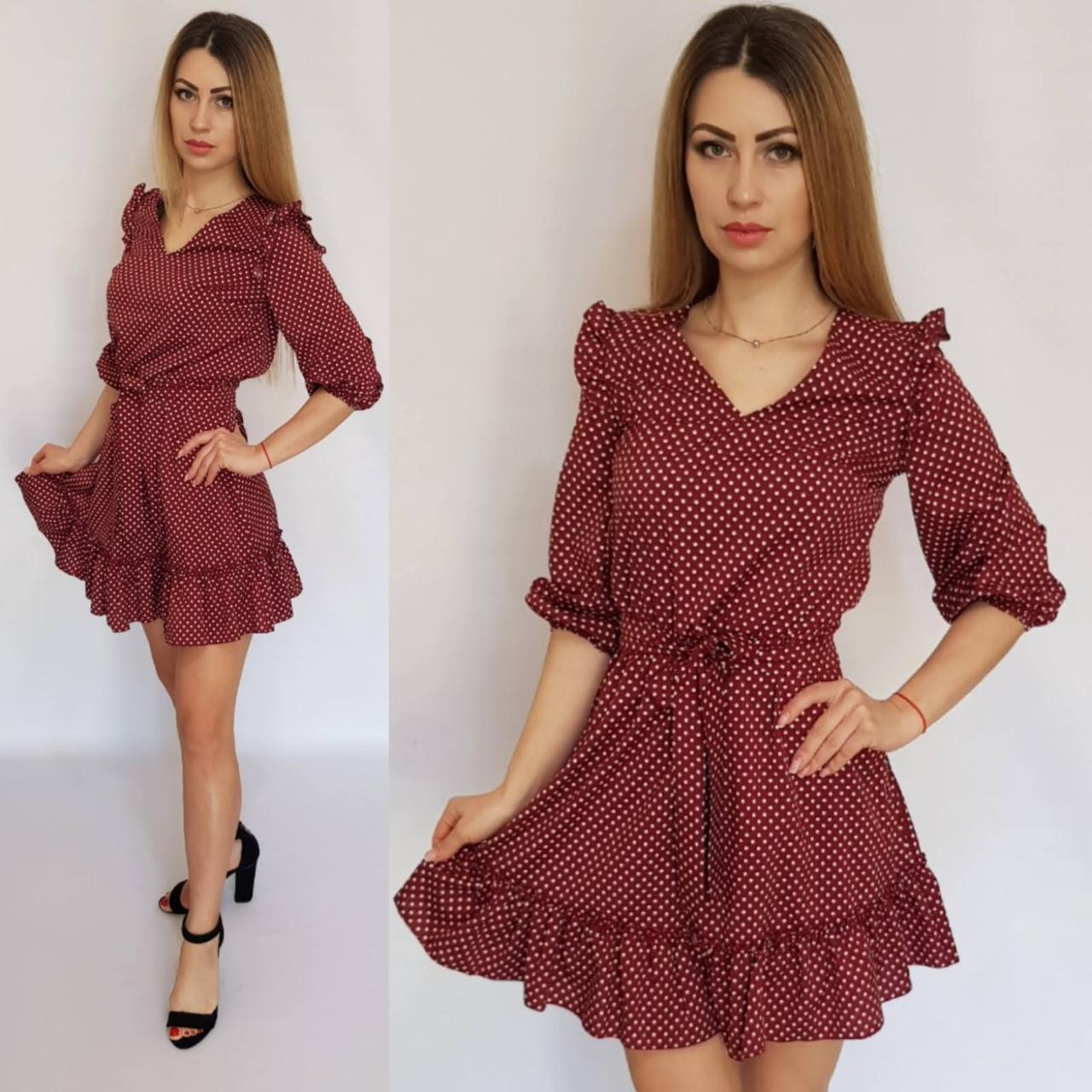 Платье короткое с рюшами в горох бордо, 192