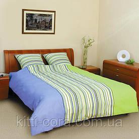Простыня Blue_Green из натуральной бязи. Цвет голубой и салатовый с полосками