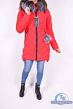 Куртка женская из плащёвки зимняя (цв.красный) опушка натуральный мех Xueyunyuzi 1750 Размер:48