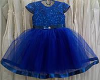 1.63 Блестящее синее нарядное детское платье с коротким рукавчиком и лентами на 1-2 годика