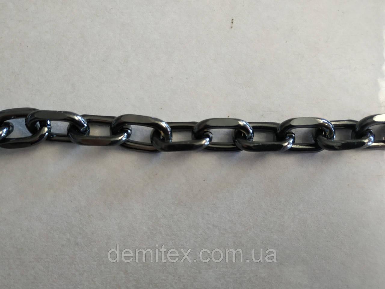 Цепочка сумочная якорная алюминиевая чёрный никель  ширина наружная 22мм, высота наружная 14мм, толщина 4мм