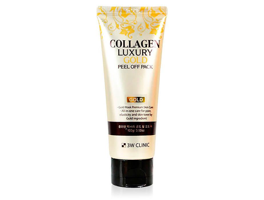 Золотая маска-плёнка для лица 3W Clinic Collagen & Luxury Gold Peel Off Pack 100 мл (8809563060221)