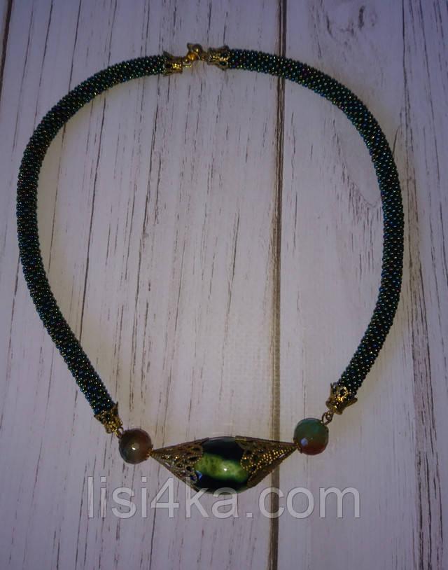 Темно-зеленое колье из бисера с натуральными агатами и браслет