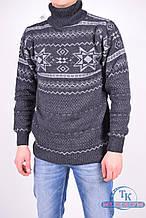 Свитер под горло мужской (цв.т/серый) вязаный из натуральной шерсти  Ehlen 134 Размер:48,50
