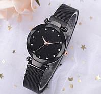 Женские часы Starry Sky с сетчатым браслетом и магнитной застежкой черный