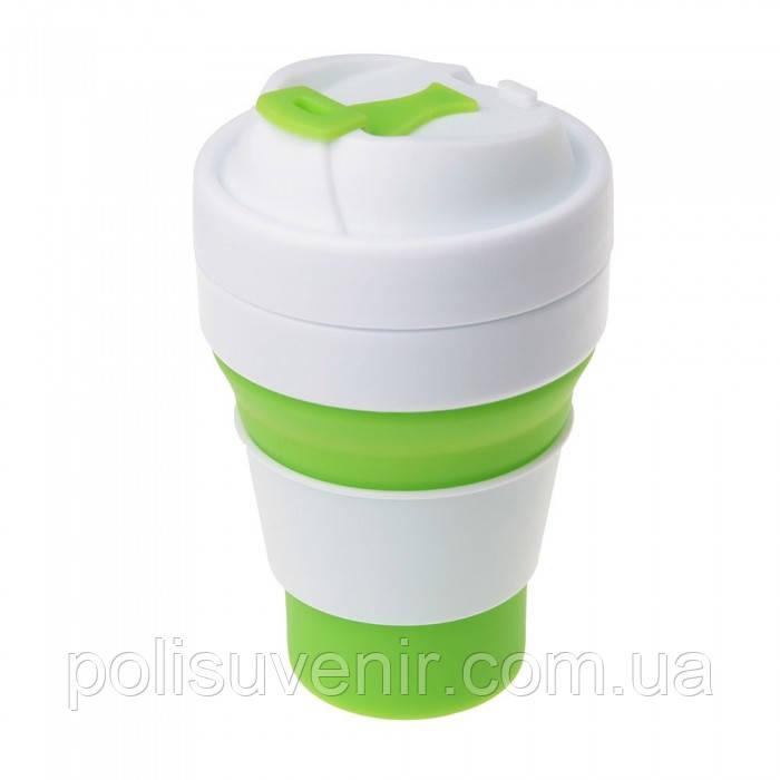 Складна силіконова чашка з кришкою 355 мл.