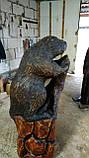 Скульптури з дерева. Бобер на пні 1.2 м. Дизайнерська Ручна Робота з Дуба на замовлення., фото 3