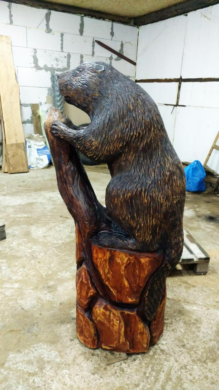 Скульптури з дерева. Бобер на пні 1.2 м. Дизайнерська Ручна Робота з Дуба на замовлення.