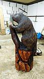 Скульптури з дерева. Бобер на пні 1.2 м. Дизайнерська Ручна Робота з Дуба на замовлення., фото 2