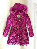 Пальто зимнее на девочку малина