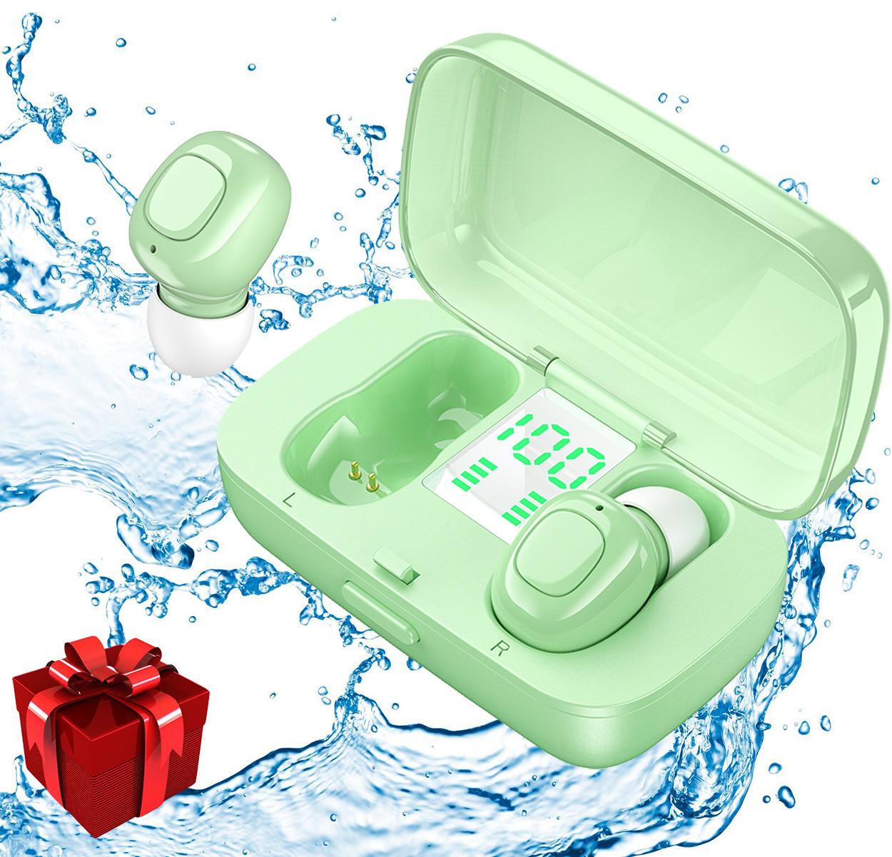 Беспроводные наушники блютуз гарнитура Bluetooth наушники 5.0 Wi-pods XG-21. Зеленые