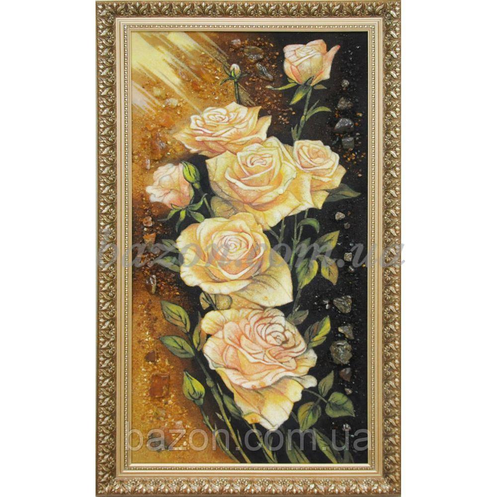 """Панно из янтаря """"Розы"""" 30х50 см"""