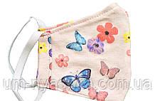 Маска с бабочками для лица детская защитная многоразовая трикотажная