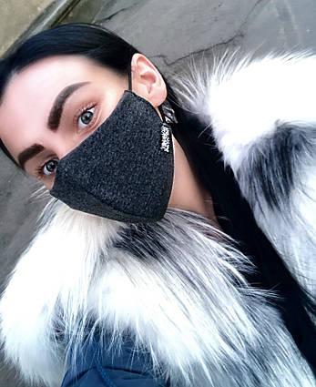 """Стильная многоразовая защитная 3-х слойная маска со стразами """"0050"""""""