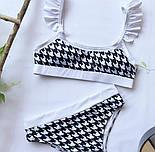 Женский раздельный купальник с гусиной лапкой, трусики с высокой посадкой, фото 2
